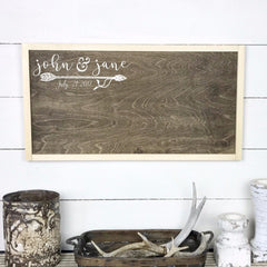 Wooden signboard with frame | Guest book for marriage with names. - teaches wood, sign, poster, wood signs, Old Shack Signs