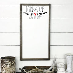 Wooden signboard with frame   Guest book for wedding with names and date. - teaches wood, sign, poster, wood signs, Old Shack Signs