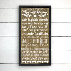 Rules for a happy marriage. hand made wood sign, handmade, wood sign in French, made in Quebec, Canada, sign frame board sign, made in Quebec, Canada, local purchase, Estrie, Montreal, Old Shack