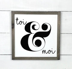 you me. hand made wood sign, handmade, wood sign in French, made in Quebec, Canada, sign frame picture board, made in Quebec, Canada, local purchase, Estrie, Montreal, Old Shack