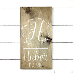 Family initial. hand made wood sign, handmade, wood sign in French, made in Quebec, Canada, sign frame board sign, made in Quebec, Canada, local purchase, Estrie, Montreal, Old Shack
