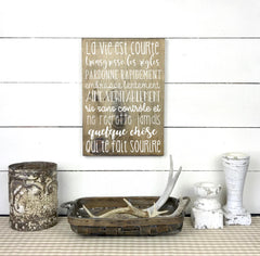 Wooden sign - Life is short - teaches wood, sign, poster, wood signs, Old Shack Signs
