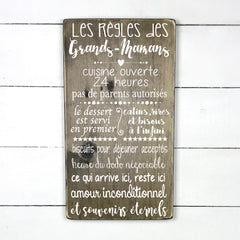 the rules of grandmothers, handmade, wooden sign in French, made in Quebec, Canada, sign frame picture board, made in Quebec, Canada, local purchase, Estrie, Montreal, Old Shack