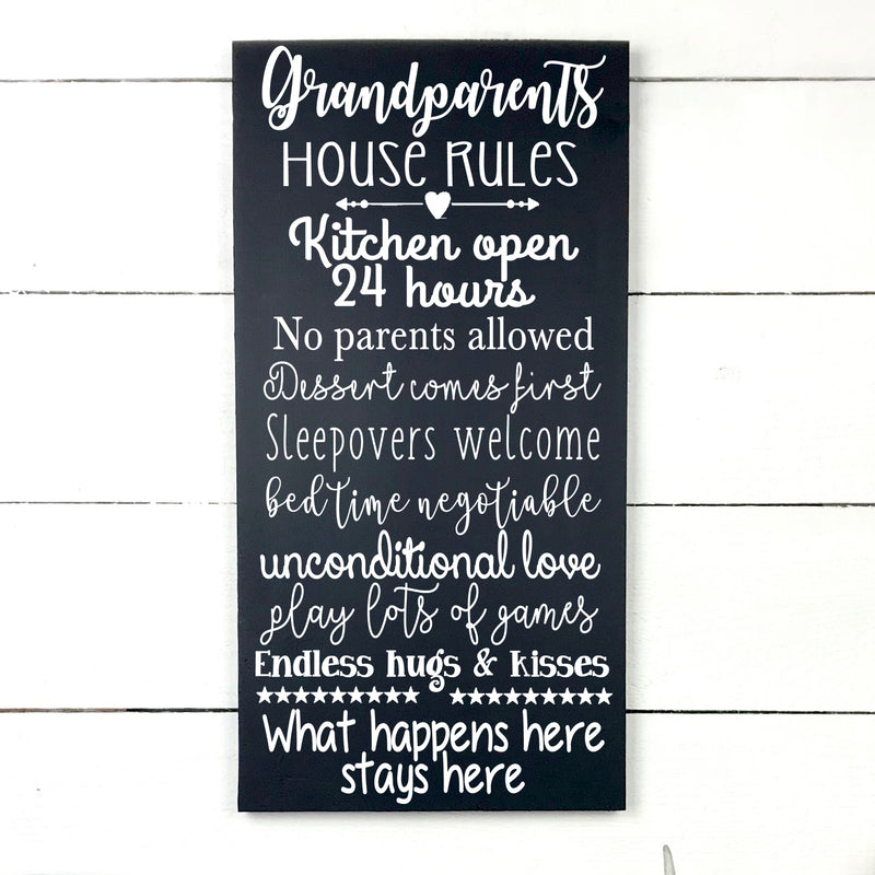 Wood sign | Grandparents house rules.