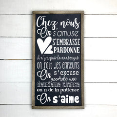 We are having fun., Hand made wood sign, handmade, wood sign in French, made in Quebec, Canada, sign frame picture board, made in Quebec, Canada, local purchase, Estrie, Montreal, Old Shack