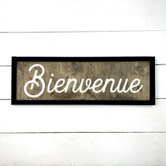 Welcome, hand made wood sign, handmade, wood sign in French, made in Quebec, Canada, sign frame picture board, made in Quebec, Canada, local purchase, Estrie, Montreal, Old Shack