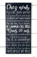 Chez nous ... in 20 years, hand made wood sign, handmade, wood sign in French, made in Quebec, Canada, sign frame picture board, made in Quebec, Canada, local purchase, Estrie, Montreal, Old Shack