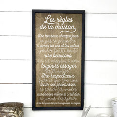 House rules, wood sign, wood sign, made in Quebec, Canada, sign, frame, table sign, made in Quebec, Canada, local purchase, Estrie, Montreal, Old Shack