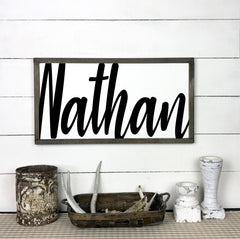 First name in large, baby, birth, hand made wood sign, handmade, wooden sign in French, made in Quebec, Canada, sign frame picture board, made in Quebec, Canada, local purchase, Estrie, Montreal, Old Shack