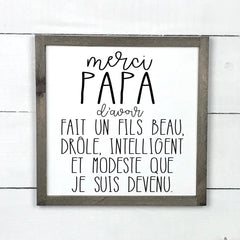 1-8-113-thank you dad, son, father's day, wood sign, wood sign, made in Quebec, canada, sign frame picture board, Old Shack