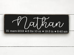 First name and birth info, baby, birth, hand made wood sign, handmade, wood sign in French, made in Quebec, Canada, sign frame picture board, made in Quebec, Canada, local purchase, Estrie, Montreal, Old Shack