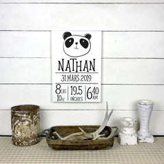 Name and info birth, baby, birth, hand made wood sign, handmade, wooden sign in French, made in Quebec, Canada, sign frame picture board, made in Quebec, Canada, local purchase, Estrie, Montreal, Old Shack