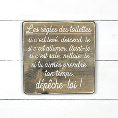 Toilet rules, wood sign, wood sign, made in Quebec, Canada, sign, frame frame sign, made in Quebec, Canada, local purchase, Estrie, Montreal, Old Shack