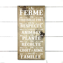 at the farm. handmade, wood sign in French, made in Quebec, Canada, sign frame picture board, made in Quebec, Canada, local purchase, Estrie, Montreal, Old Shack