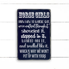 Horse girls, handmade, wood sign in French, made in Quebec, Canada, signboard frame sign, made in Quebec, Canada, local purchase, Estrie, Montreal, Old Shack