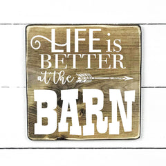 Life is better at the barn, handmade, wooden sign in French, made in Quebec, Canada, sign frame picture board, made in Quebec, Canada, local purchase, Estrie, Montreal, Old Shack