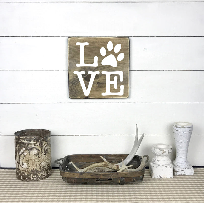 LOVE paw print, hand made wood sign, handmade, wooden sign in French, made in Quebec, Canada, sign frame picture board, made in Quebec, Canada, local purchase, Estrie, Montreal, Old Shack