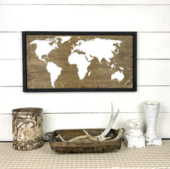 worldmap, map world, map. hand made wood sign, handmade, wood sign in French, made in Quebec, Canada, sign frame picture board, made in Quebec, Canada, local purchase, Estrie, Montreal, Old Shack