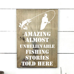 Amazing almost unbelievable fishing stories, hand made wood sign, handmade, wooden sign in French, made in Quebec, Canada, sign frame picture board, made in Quebec, Canada, local purchase, Estrie, Montreal, Old Shack