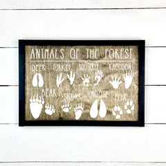animals of the forest, animal prints, forest, deer, fox, turkey, racoon, bear, squirrel, hand made wood sign, handmade, wooden sign in French, made in Quebec, Canada, sign frame picture board, made in Quebec, canada, local purchase, Estrie, Montreal, Old Shack