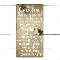 In this kitchen. hand made wood sign, handmade, wood sign in French, made in Quebec, Canada, sign frame picture board, made in Quebec, Canada, local purchase, Estrie, Montreal, Old Shack