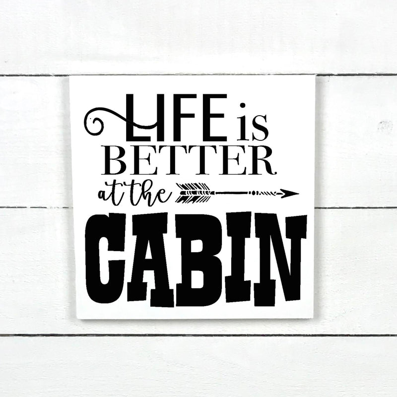 Life is better at the cabin, hand made wood sign, handmade, wooden sign in French, made in Quebec, Canada, sign frame picture board, made in Quebec, Canada, local purchase, Estrie, Montreal, Old Shack