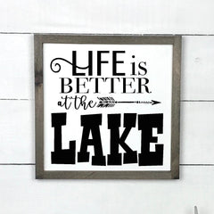 Life is better at the lake, hand made wood sign, handmade, wooden sign in French, made in Quebec, Canada, sign frame picture board, made in Quebec, Canada, local purchase, Estrie, Montreal, Old Shack