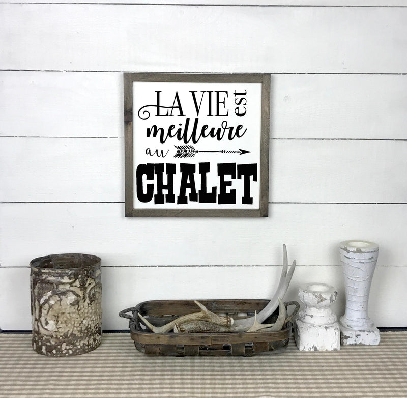 Wooden sign with frame - Life is better at the chalet - teaches wood, sign, poster, wood signs, Old Shack Signs