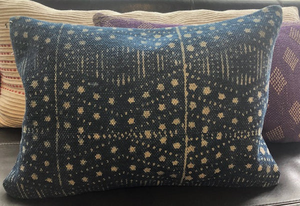 Indigo Hand-dyed + Hand blocked Printed Pillow Cover