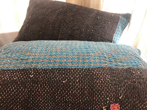 Brown-Blue trim Kantha Cushion Cover