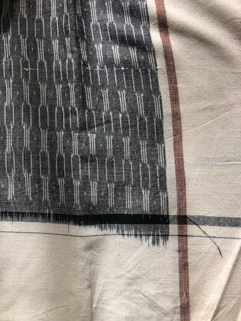 Grey-Off-White IKAT Cotton Table Runner