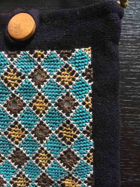 Shoulder Pouch with Tribal Embroidery