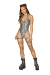 1pc High Cut Romper with O-Ring Detail