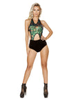 1pc Cutout Romper with Velvet Shorts and Sheer Top