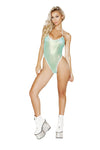 1pc Sheer Romper with O-Ring Detail