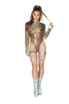 1pc Metallic Long Sleeved Sheer Romper