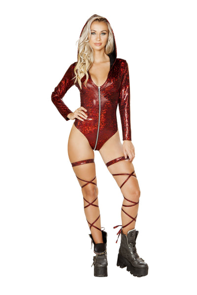 1pc Long Sleeve Hooded Romper with Zip up Closure