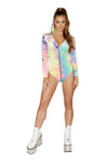 1pc Tie Dye Velvet Long Sleeved Hoodie Romper with Zipper Closure