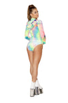 3577 - 1pc Tie Dye Velvet Long Sleeved Hoodie Romper with Zipper Closure