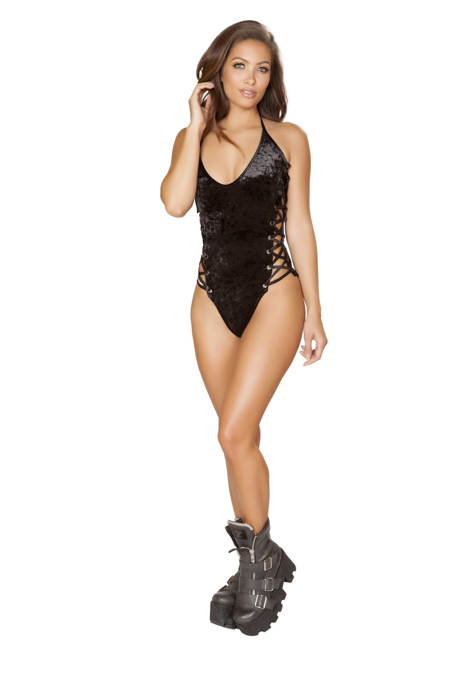 1pc Double Sided Lace-up Romper