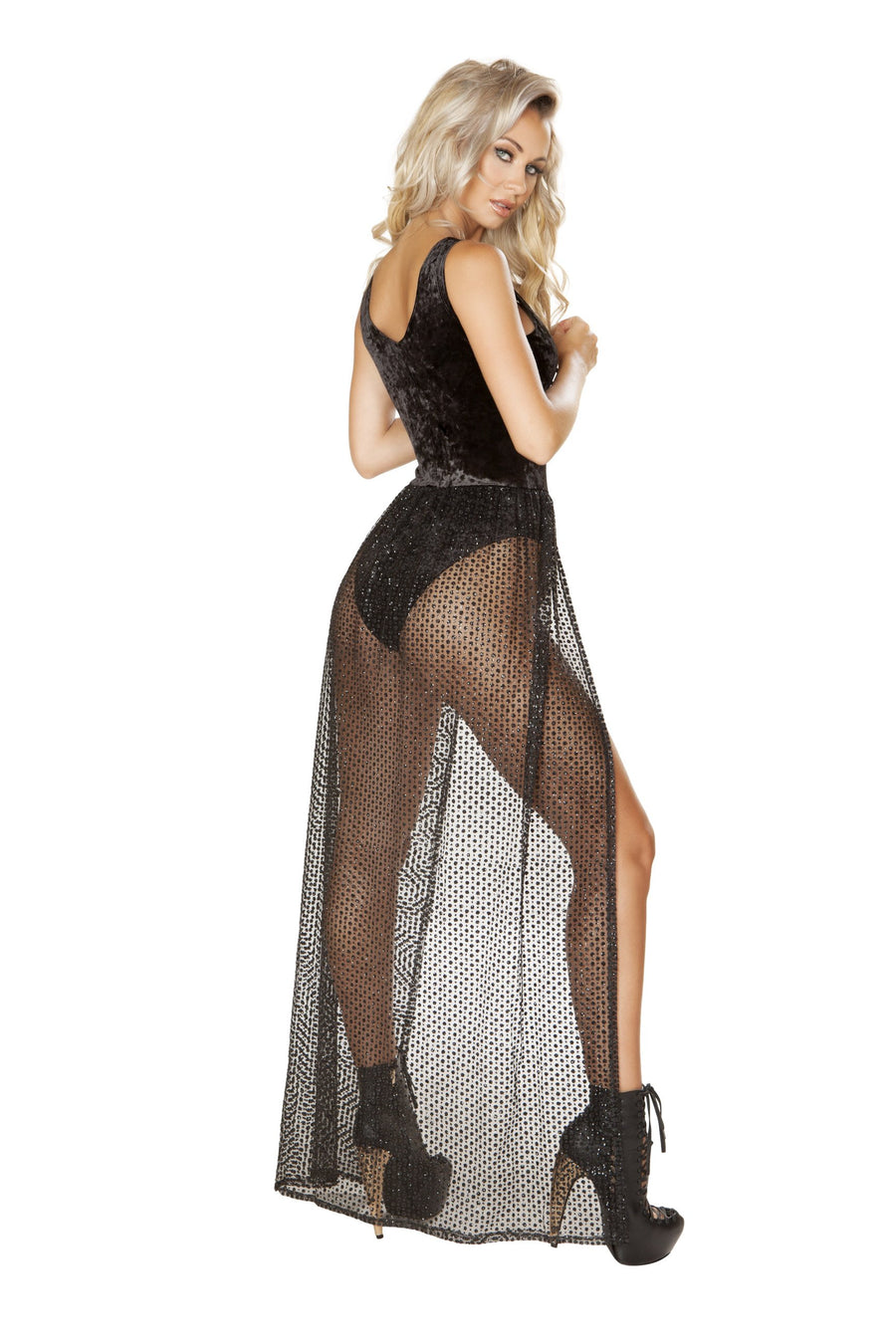 3585 - 1pc Lace-up Velvet Romper with Attached Sheer Open Front Glitter Skirt