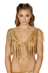 1pc Brown Tie Dye Suede Crop Top with Fringe Detail