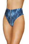 1pc High-Waisted Denim Print Shorts with Zipper Front Closure