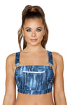 1pc Denim Print Crop Top with Pocket Front and Overall Buckle Detail