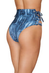 3619 - 1pc Denim Print High-Waisted Shorts with Lace-up Detail