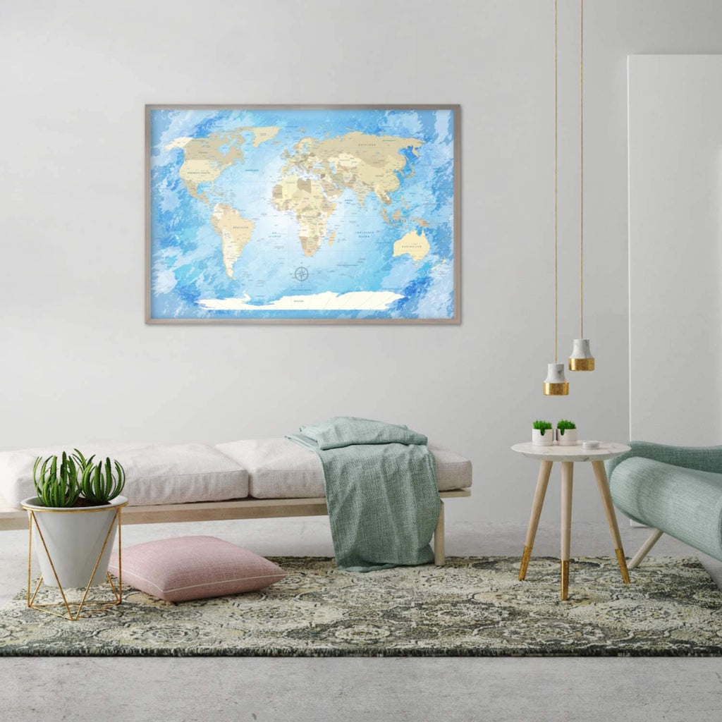 Premium Poster -  World Map Frozen - Deutsch|Premium Poster - World Map Frozen - German