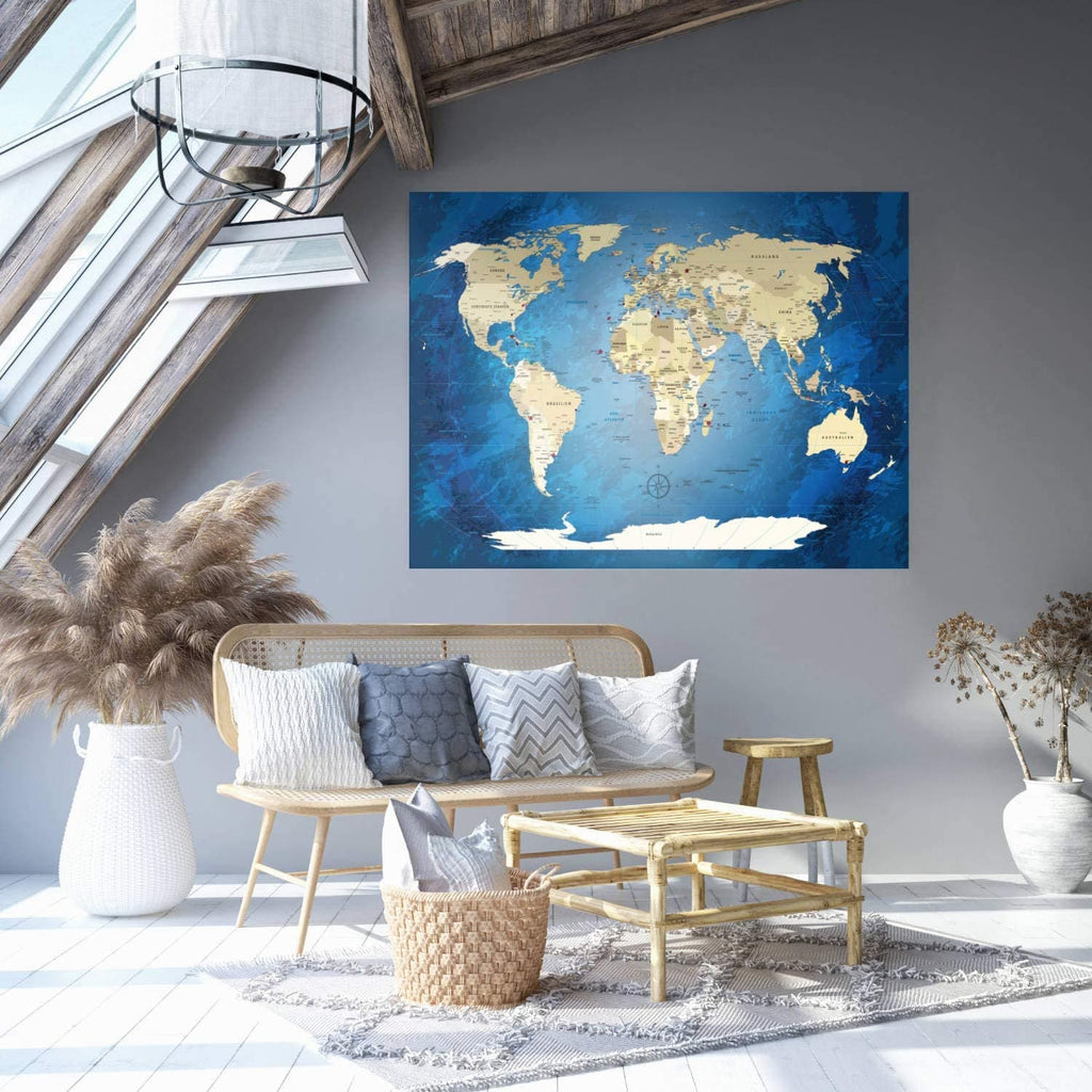 Klebeposter - World Map Blue Ocean - deutsch|Adhesive Poster - World Map Blue Ocean - German