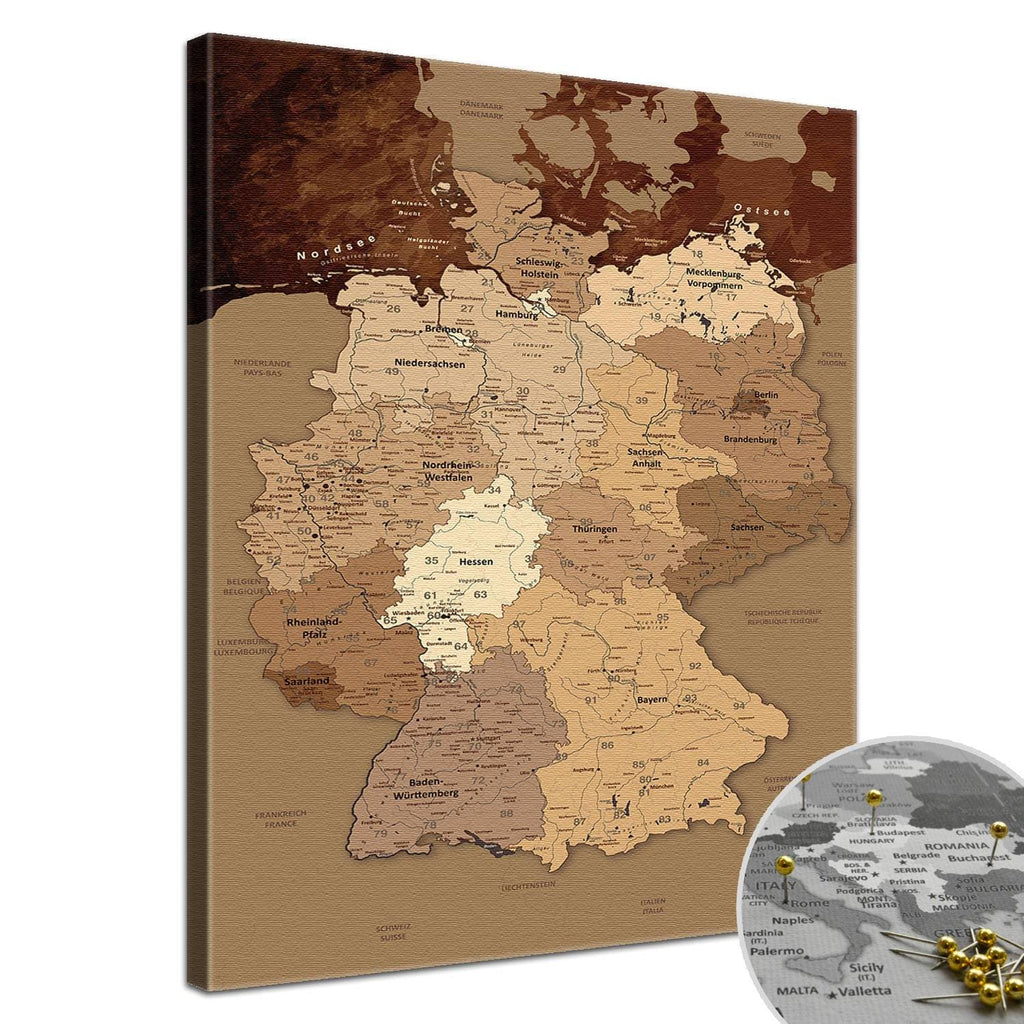 Leinwandbild - Deutschlandkarte Antik  - Pinnwand, Deutsch|Canvas Art - Germany Map Antik - Pinboard, German