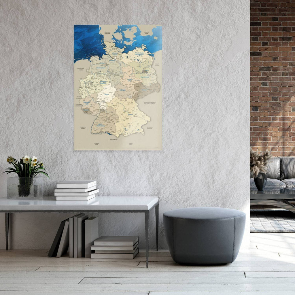 Glasbild - Deutschlandkarte Blue Ocean - Deutsch|Glass Picture - Germany Map Blue Ocean - German