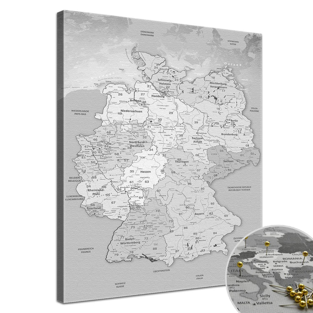 Leinwandbild - Deutschlandkarte Hellgrau  - Pinnwand, Deutsch|Canvas Art - Germany Map Light Gray - Pinboard, German